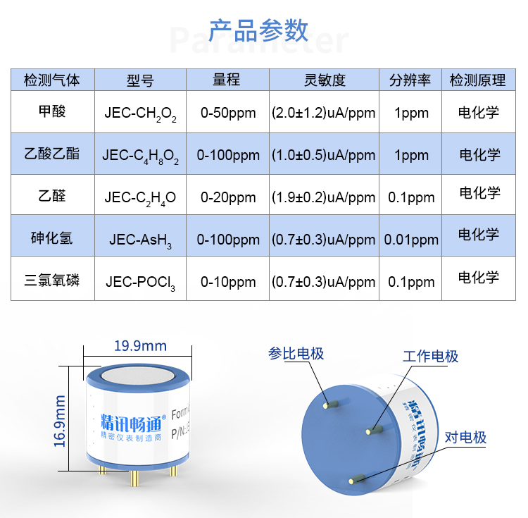 JEC-甲酸|乙酸乙酯|乙醛|砷化氢|三氯氧磷电化学传感器